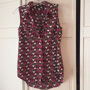 Pink Geometric Button-Up Collar Sleeveless Blouse